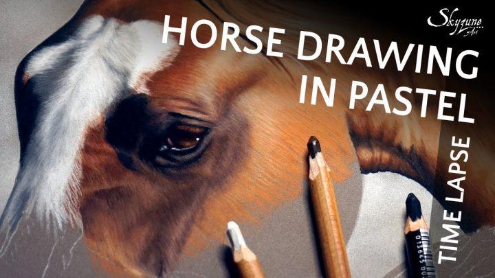 🎨 Dessin de cheval au pastel sec / Dessiner un cheval au pastel sec • Time lapse • Skyzune ART