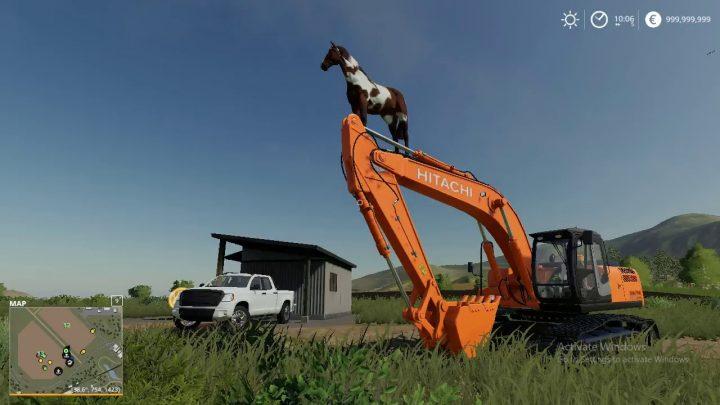 Grimper l'excavatrice à cheval.  (Farming Simulator 19) Échec du jeu,
