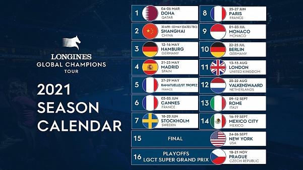 Publication du Longines Global Champions Tour et du calendrier GCL 2021