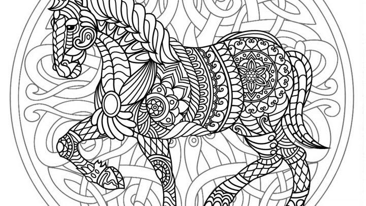 Beau Mandala À Colorier De Cheval