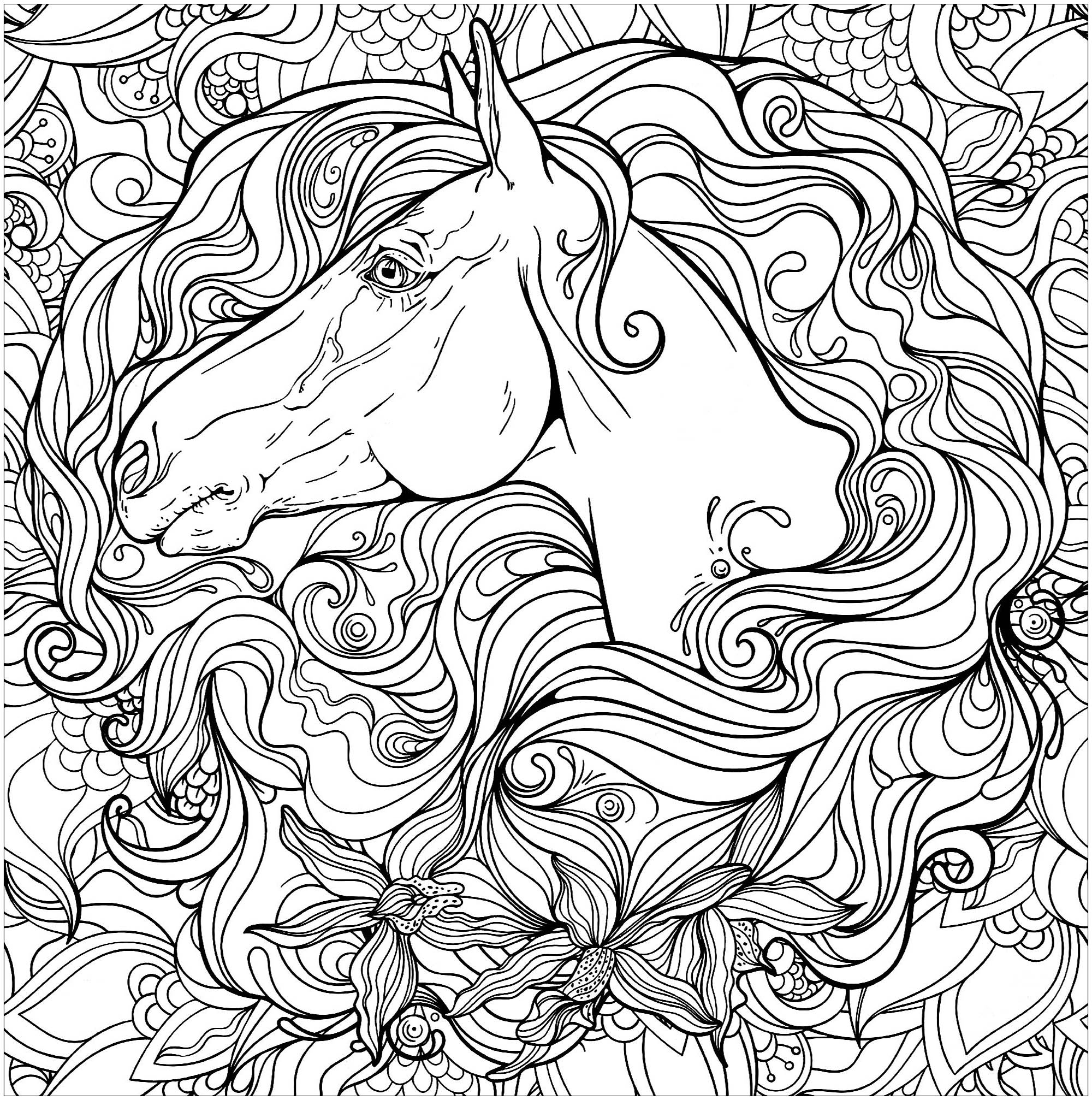 cheval princesse coloriage