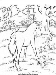 coloriage de chevaux dans leur box