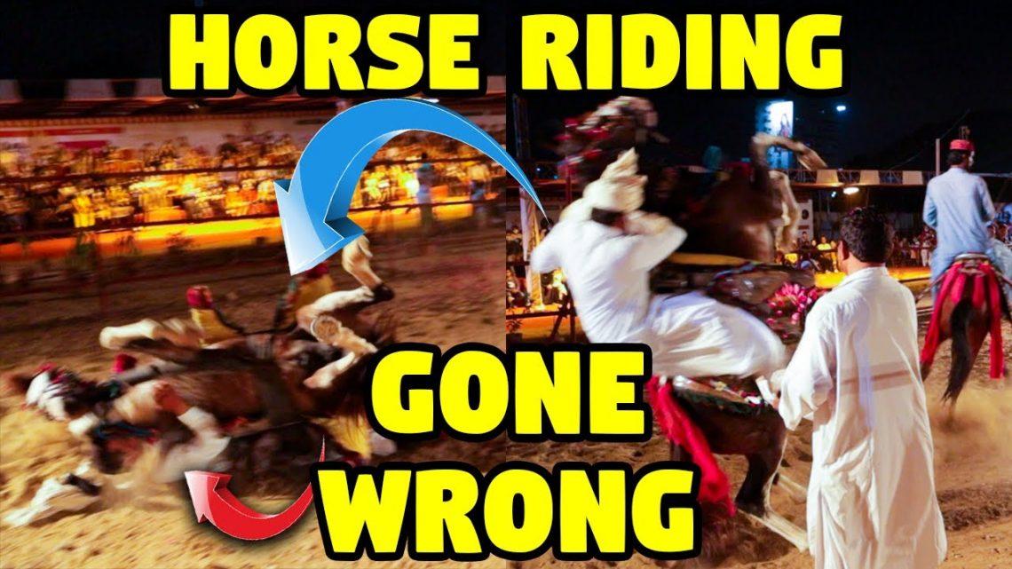 ÉCHEC ÉPIQUE: L'équitation a mal tourné!  Cheval est tombé sur un homme lors d'une représentation au DALFA Cattle Show